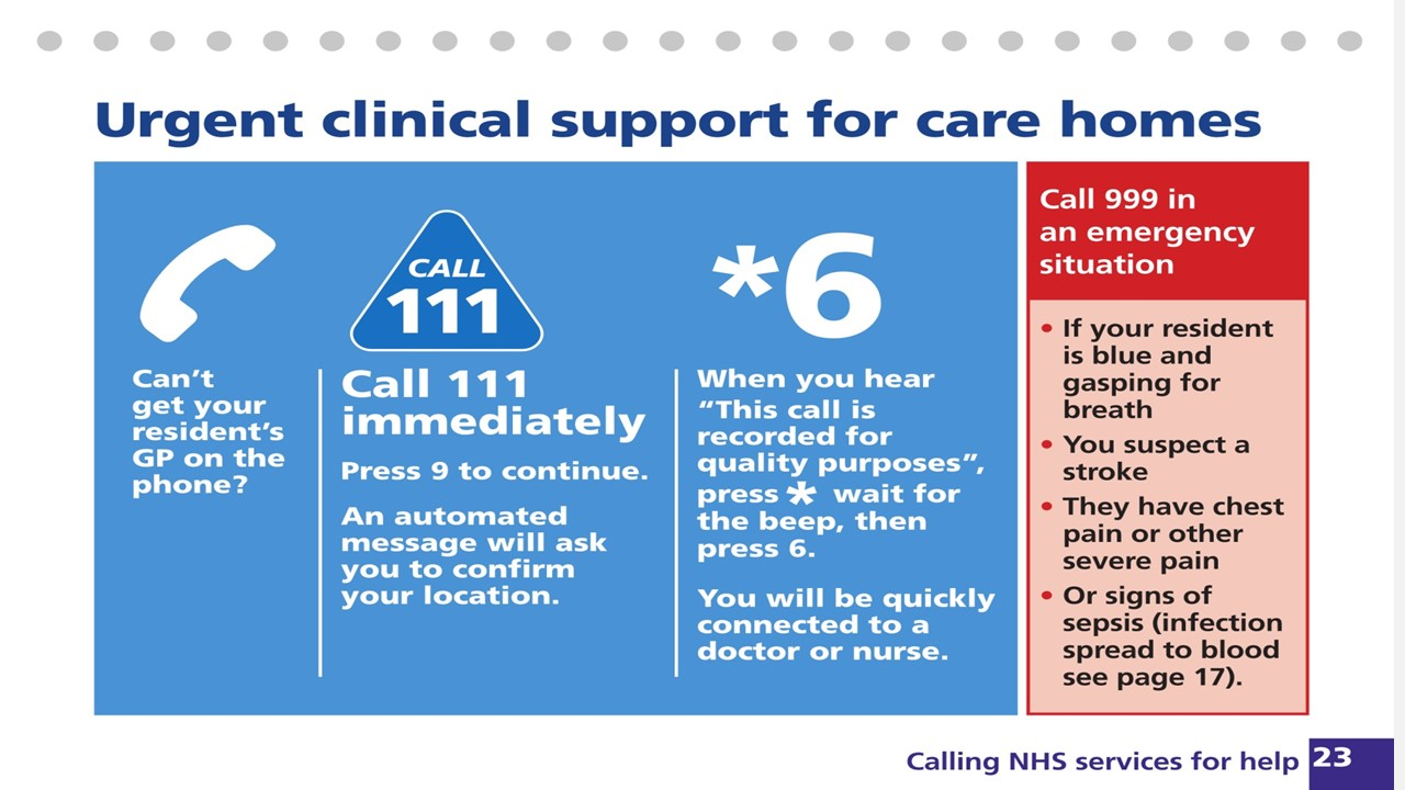 111 Urgent Clinical Support for Care Homes