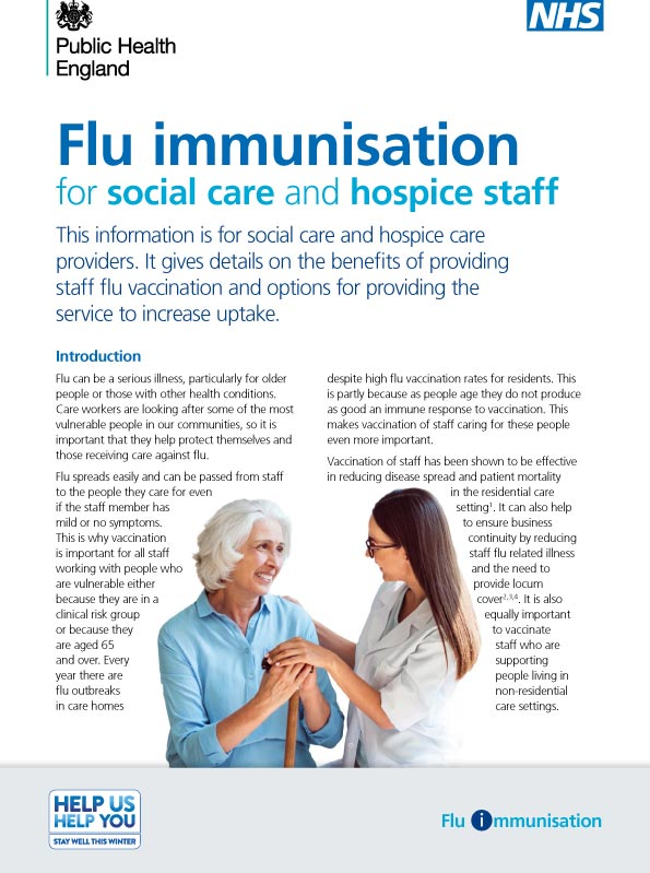 Flu immunisation for social care staff