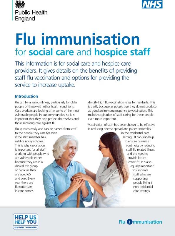 Flu immunisation for social care staff
